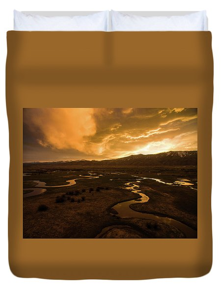 Sunrise Over Winding Rivers Duvet Cover