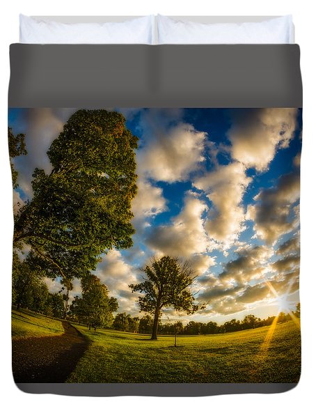 Duvet Cover featuring the photograph Sunrise Path At Meadows Edge by Chris Bordeleau