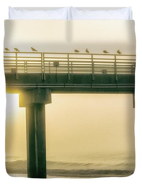 Duvet Cover featuring the photograph Sunrise Pier In Alabama  by John McGraw
