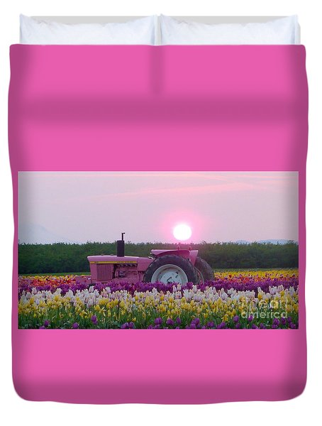 Sunrise Pink Greets John Deere Tractor Duvet Cover by Susan Garren