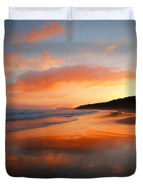 Duvet Cover featuring the photograph Sunrise Reflection by Roy McPeak