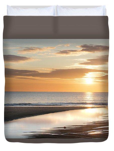 Sunrise Reflections At Aberdeen Beach Duvet Cover