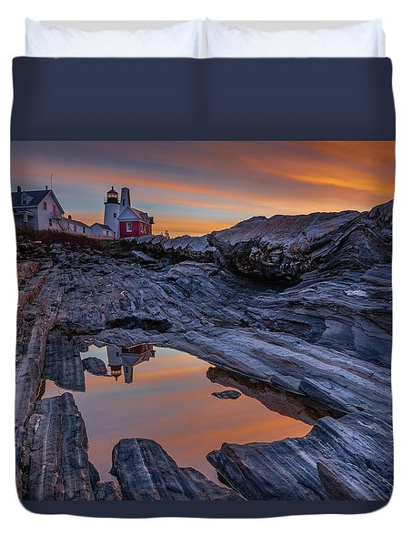 Sunrise Reflections At Pemaquid Point Duvet Cover