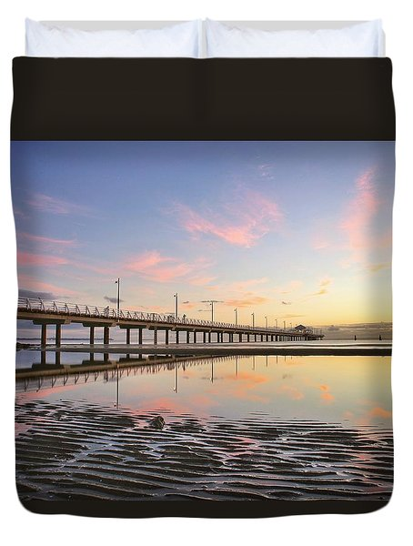 Sunrise Reflections At The Shorncliffe Pier Duvet Cover