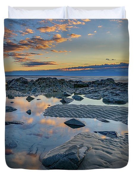 Duvet Cover featuring the photograph Sunrise Reflections On Wells Beach by Rick Berk
