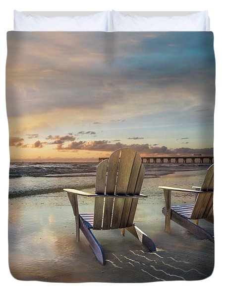 Duvet Cover featuring the photograph Sunrise Romance by Debra and Dave Vanderlaan