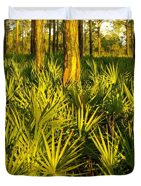 Sunrise Saw Palmettos Duvet Cover