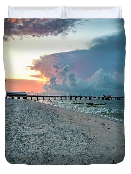 Sunrise Seascape Gulf Shores Al Pier 064a Duvet Cover