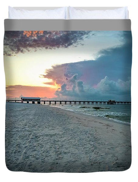 Sunrise Seascape Gulf Shores Al Pier 064a Duvet Cover