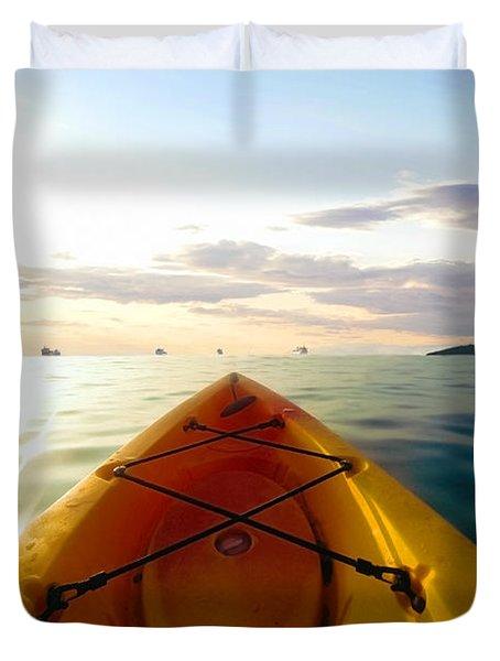 Sunrise Seascape Kayak Adventure Duvet Cover