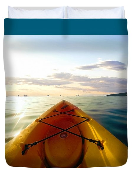 Sunrise Seascape Kayak Adventure Duvet Cover