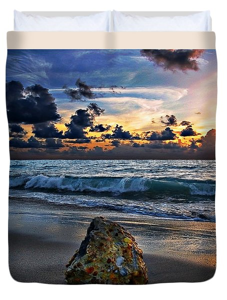 Sunrise Seascape Wisdom Beach Florida C3 Duvet Cover by Ricardos Creations