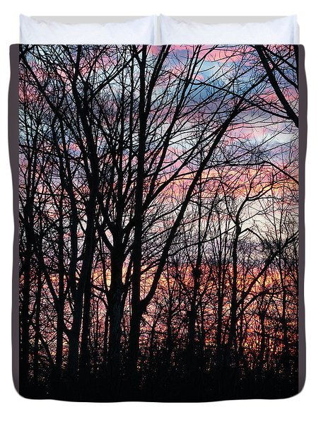 Sunrise Silhouette And Light Duvet Cover