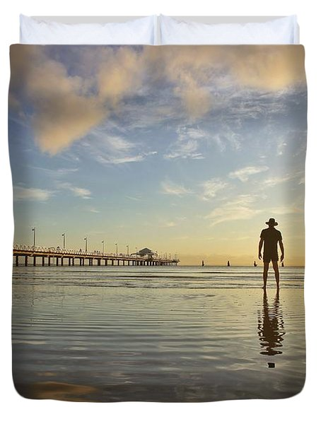 Sunrise Silhouette Down By The Pier. Duvet Cover