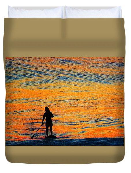 Sunrise Silhouette Duvet Cover by Kathy Long