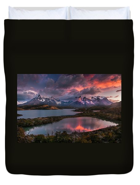 Sunrise Spectacular At Torres Del Paine. Duvet Cover