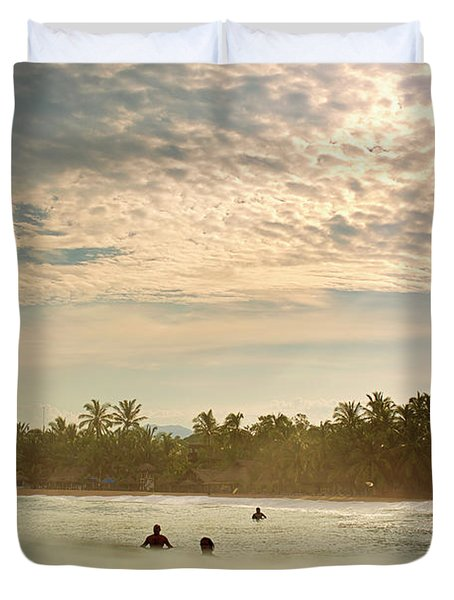 Sunrise Surfers Duvet Cover