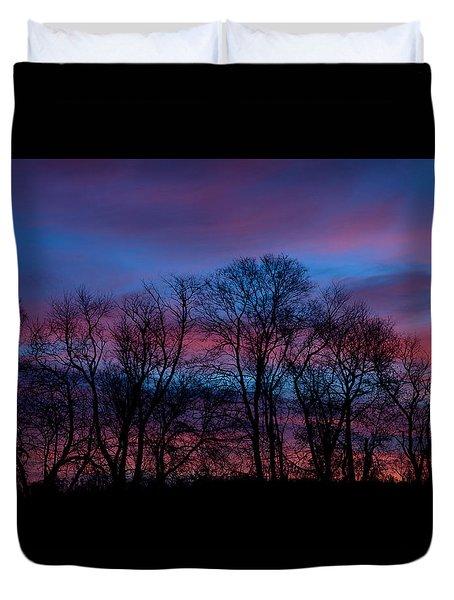 Sunrise Through Barren Trees Duvet Cover