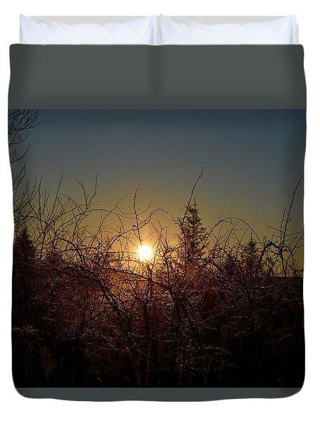 Sunrise Thru The Brush Duvet Cover