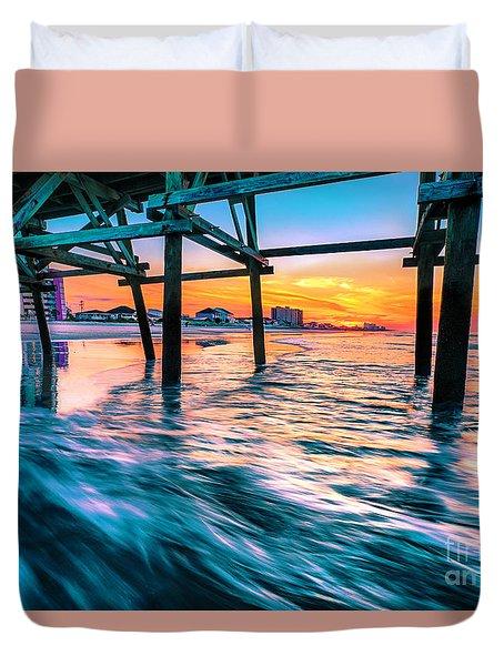 Sunrise Under Cherry Grove Pier Duvet Cover