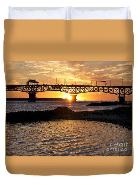 Sunrise Under Coleman Bridge Duvet Cover