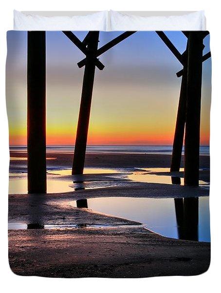 Sunrise Under Folly Pier Duvet Cover