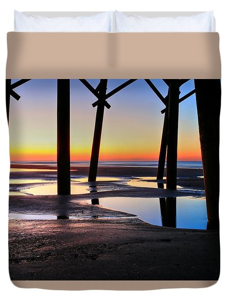 Sunrise Under Folly Pier Duvet Cover