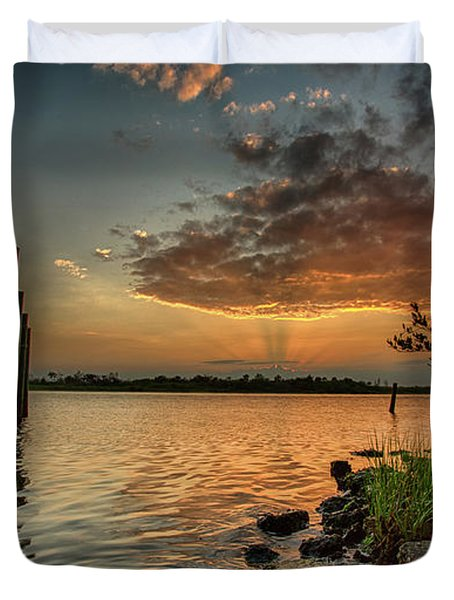 Sunrise Under The Dock Duvet Cover