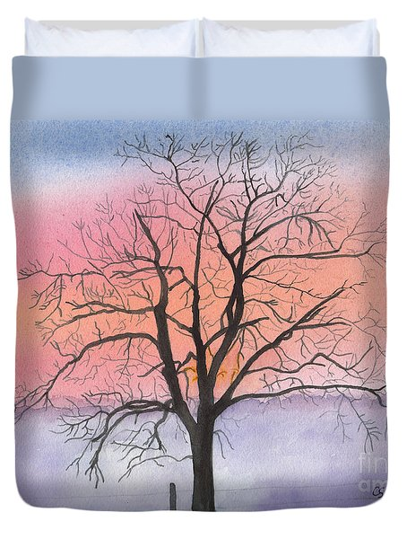 Sunrise Walnut Tree 2 Watercolor Painting Duvet Cover