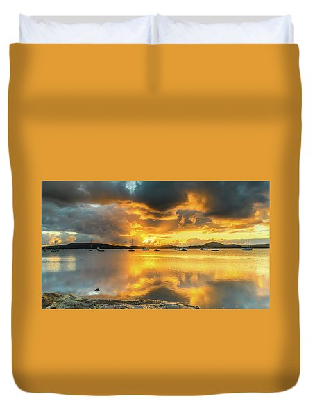 Sunrise Waterscape With Reflections Duvet Cover