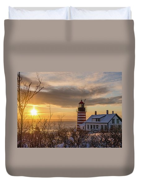 Sunrise West Quoddy Lighthouse Duvet Cover