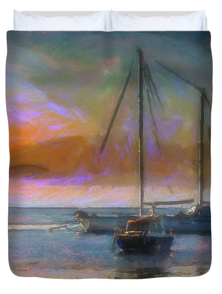Sunrise With Boats Duvet Cover