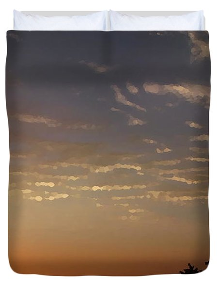 Sunrise With Windmill Duvet Cover