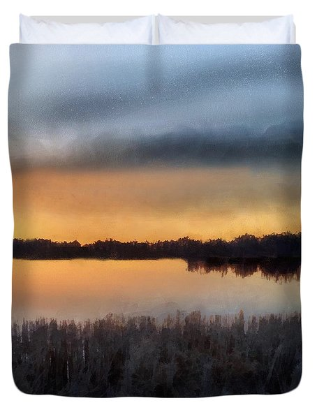 Sunrise On A Frosty Marsh Duvet Cover by RC deWinter