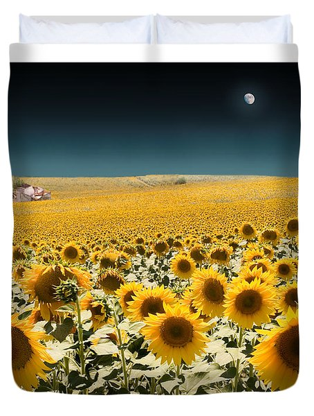 Suns And A Moon Duvet Cover by Mal Bray