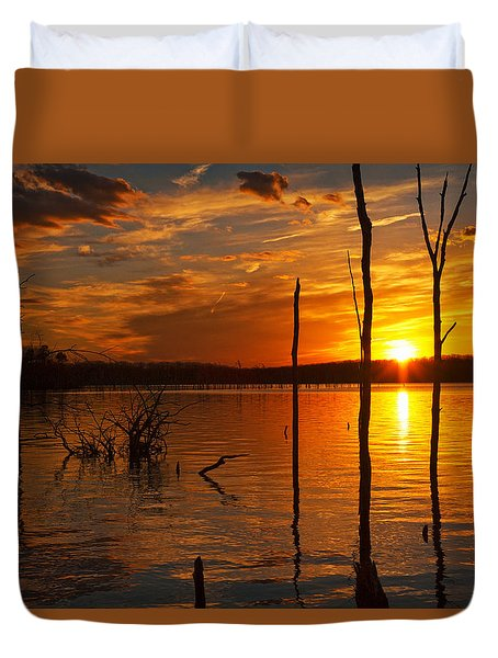 Duvet Cover featuring the photograph sunset @ Reservoir by Angel Cher
