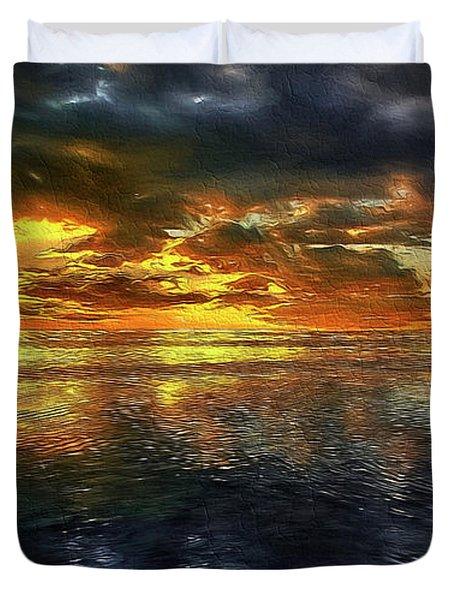 Sunset #95 Or Sunset Over The Atlantic. Duvet Cover
