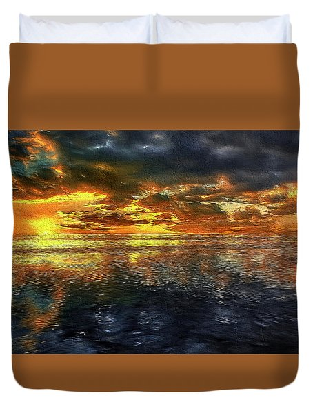 Sunset #95 Or Sunset Over The Atlantic. Duvet Cover