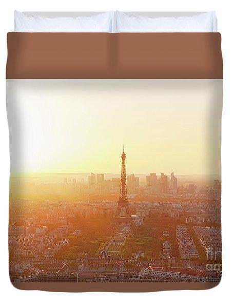 Sunset Above Paris Duvet Cover