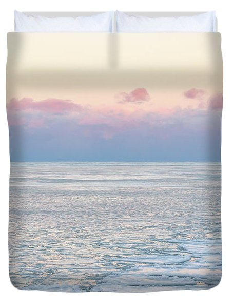 Sunset Across The Frozen Lake Duvet Cover