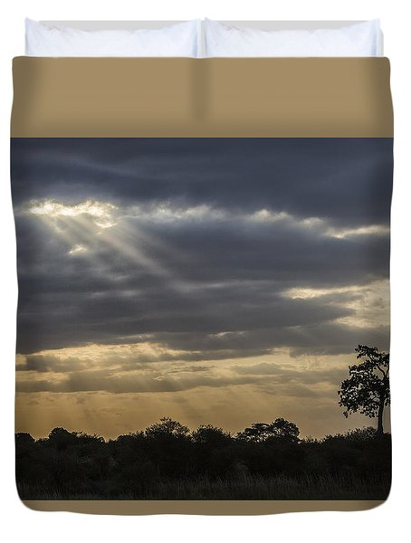 Duvet Cover featuring the tapestry - textile Sunset Africa 2 by Kathy Adams Clark