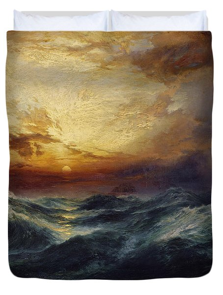 Sunset After A Storm Duvet Cover by Thomas Moran