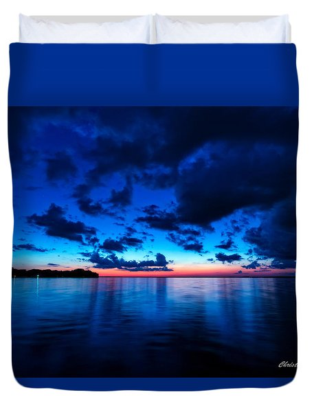 Duvet Cover featuring the photograph Sunset After Glow by Christopher Holmes