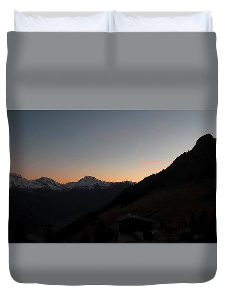 Sunset Afterglow In The Mountains Duvet Cover