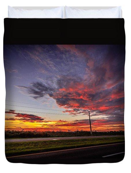 Sunset Along Jd Duvet Cover