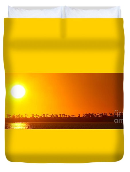 Duvet Cover featuring the photograph Sunset Along Line Of Palms by Max Allen