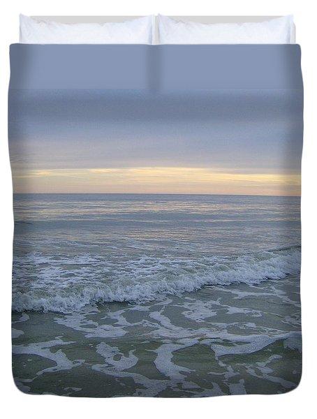 Sunset Along Oak Island Duvet Cover