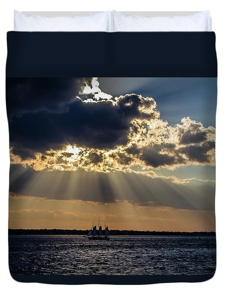 Sunset And A Three Masted Schooner Duvet Cover