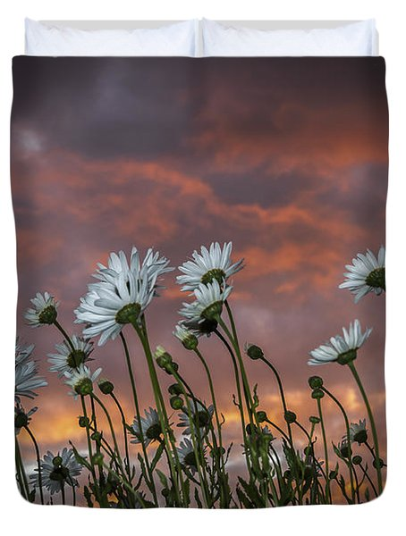 Sunset And Daisies Duvet Cover