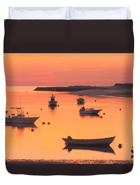 Sunset And Great Blue Heron Pamet Harbor Cape Cod Duvet Cover